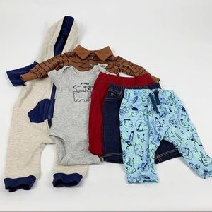 Baby Boy Tops and Pants Newborn - Lot of 6